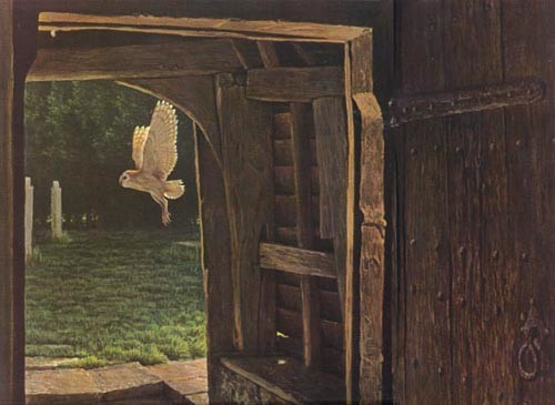 Robert Bateman Barn Owl In The Churchyard
