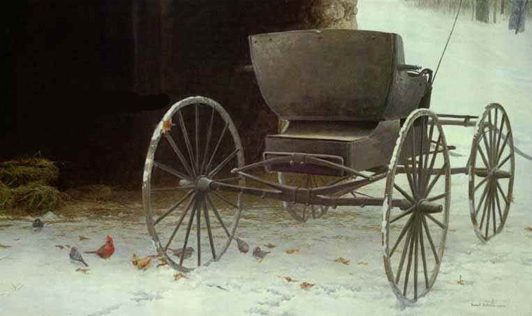 Robert Bateman Old Buggy and Winter Birds