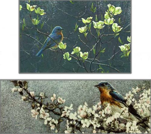 Robert Bateman Bluebird & Blossoms