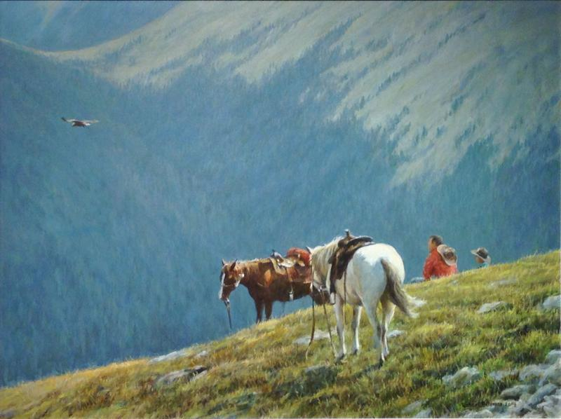 Robert Bateman Cowboys and Golden Eagle