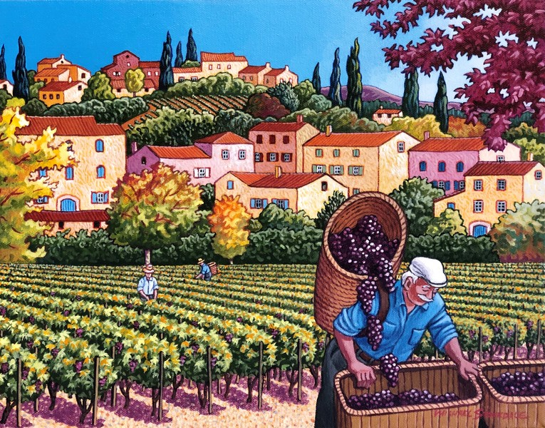 Michael Stockdale Harvesting the Grapes in Provence