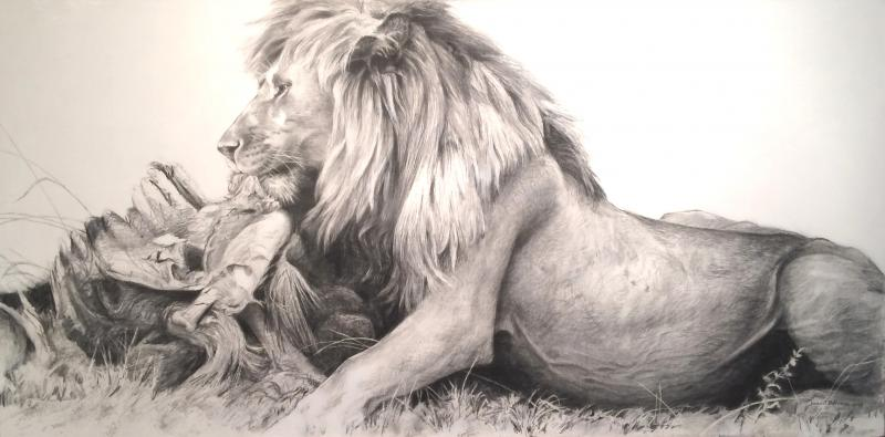 Robert Bateman Lion and Wildebeast Kill