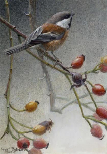 Robert Bateman Chickadee and Rosehips