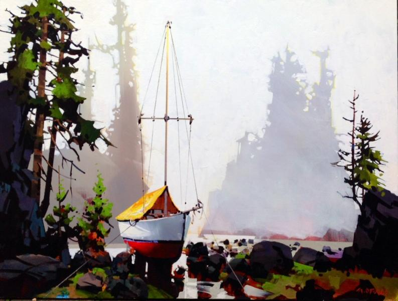 Michael O'Toole Sailboat Against Sea Stacks