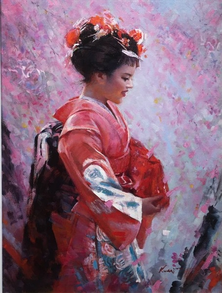 Lady With Red Kimono by Clement Kwan