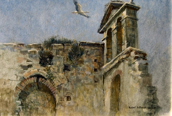 Robert z Bateman Ruin With White Stork