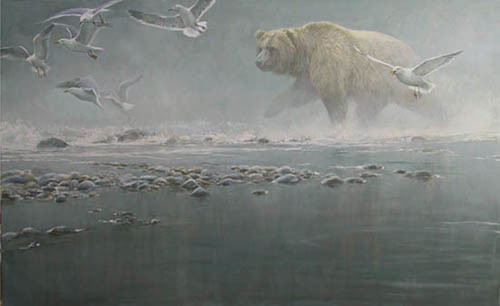 Robert z Bateman Above The Rapids – Gulls And Grizzly