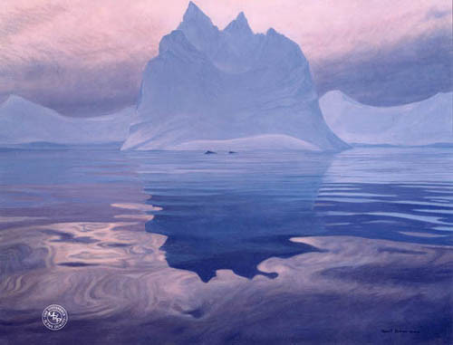 Robert z Bateman  Antarctic Evening – Humpback Whales