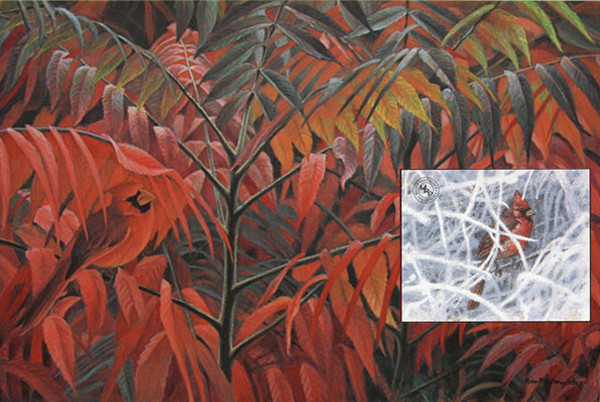 Robert z Bateman Cardinal and Sumac – Premier Edition