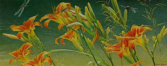 Robert z Bateman Day Lilies and Dragonflies