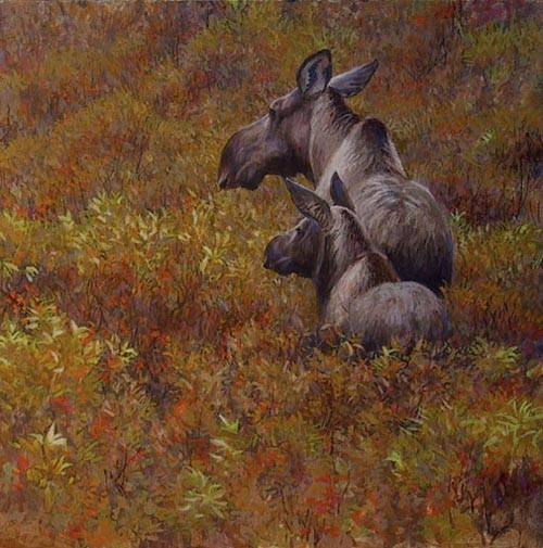 Robert z Bateman Fall Forage – Moose Cow and Calf