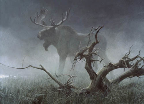 Robert z Bateman Moose In Moonlight