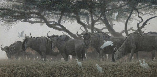 Robert z Bateman Wildebeest and Egrets