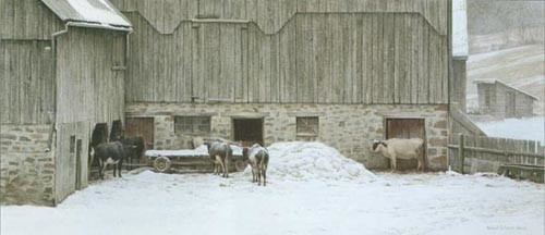 Robert z Bateman Winter Barnyard