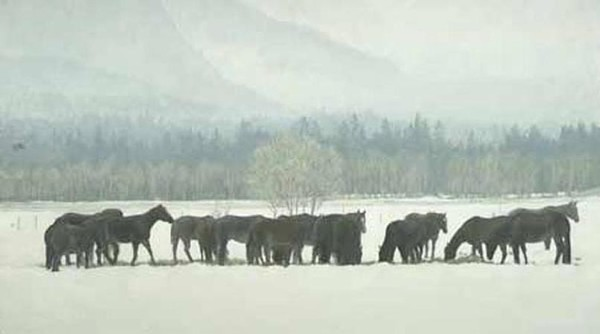 Robert z Bateman Winter Gathering-Horse Herd