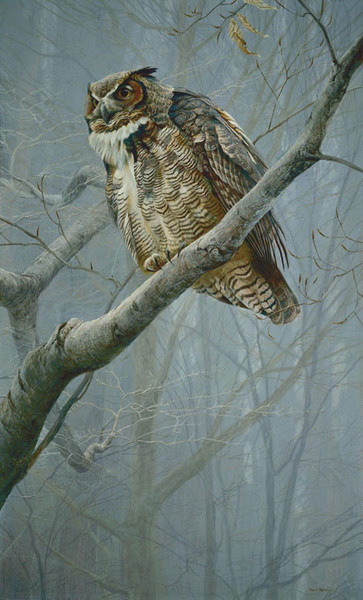 Robert z Bateman Winter Mist – Great Horned Owl
