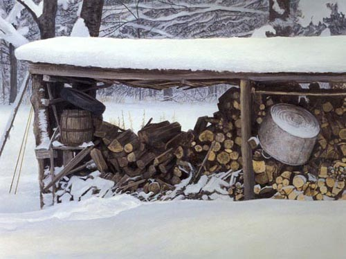 Robert z Bateman Woodshed In Winter- Ermine