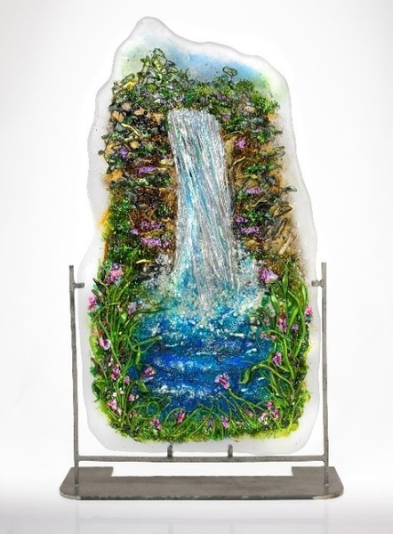 Monet Style Waterfall Panel by Doroni Lang