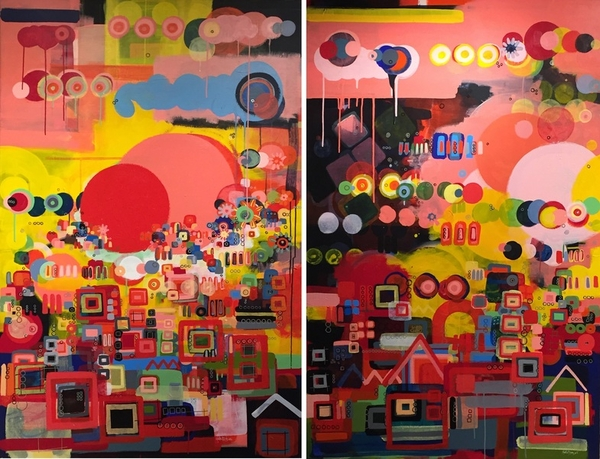 Over The City (Diptych) by Martin Budny