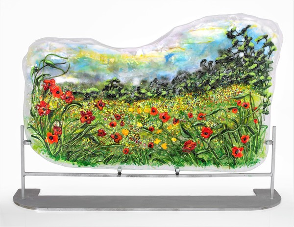 Monet Style Poppy Field Panel by Doroni Lang