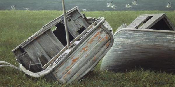 Robert z Bateman Stranded Boats and Gulls