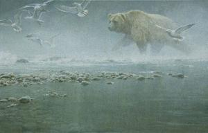 Robert z Bateman Above The Rapids - Gulls And Grizzly