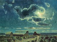 Jerry Markham Moonlit Farmyard